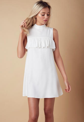 Summer White Collar Ruffle Dress
