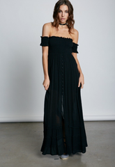Summer Off Shoulder Black Maxi Dress