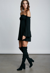 Summer Off Shoulder Black Dress