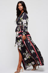Elegant Black Multi-Color Floral Print Wrap Maxi Dress with Long Sleeve