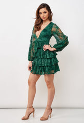Elegant Forest Green Floral Lace Deep V-Neck Ruffle Tie-Up Dress with Bell Sleeve