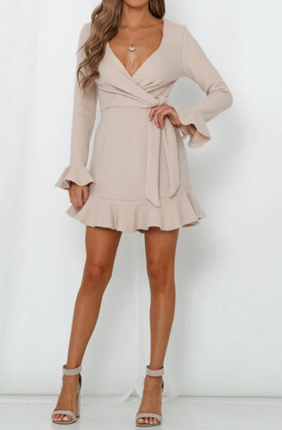 Fashion Beige Tie-Up Ruffle Sweater Dress with Bell Sleeve