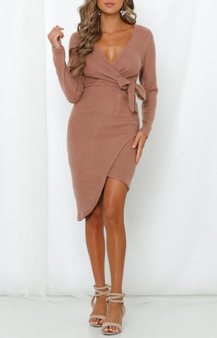 Fashion Taupe Wrap Tie-Up Sweater Dress with Long Sleeve