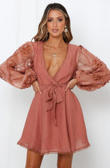Elegant Rose Lace Detailed Wrap Tie-Up Dress with Puffy Long Sleeve