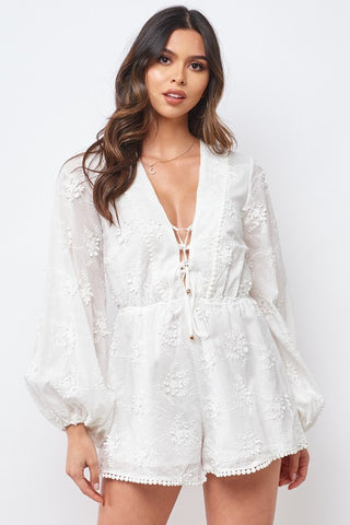 Fashion White Floral Embroidery Tassel Detailed Front Tie-Up Romper with Bell Sleeve