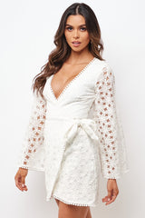 Elegant White Floral Lace Tassel Wrap Tie-Up Dress with Bell Sleeve