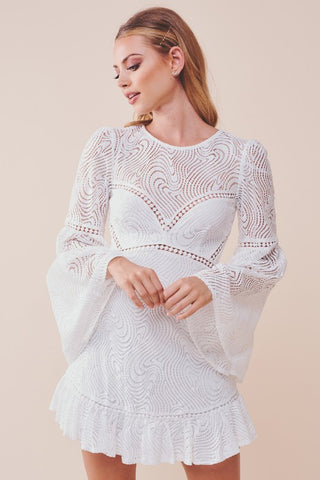 Elegant White Lace Pom Pom Detailed Tassel Ruffle Dress with Bell Sleeve