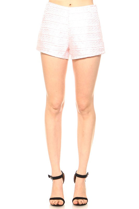 Fashion High Waisted Textured Detailed Pink Short
