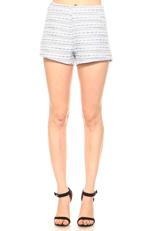 Fashion High Waisted Textured Detailed Blue Short