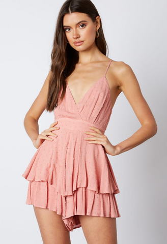 Fashion Strap Blush Textured Detail Tie-Up Ruffle Romper