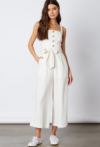 Fashion Summer Strap White Button Down Tie-Up Jumpsuit