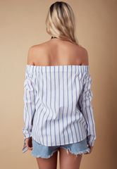 Summer Marine Off Shoulder Top