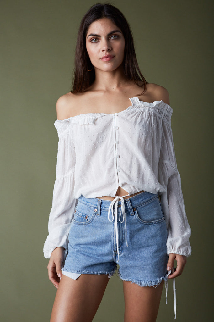 Summer Off Shoulder White Button Down Blouse