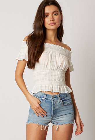 Fashion Off Shoulder White Ruffle Elastic Top