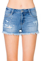 Ripped Short Jean with Blue Wash Pearl Studs Detailed