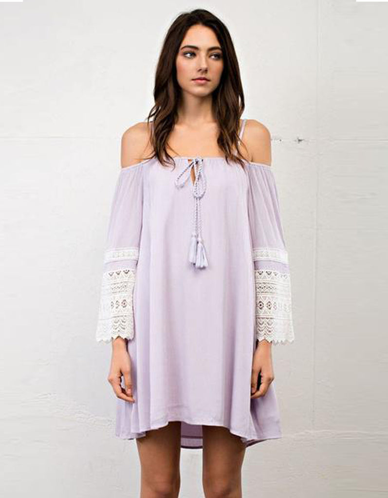 Casual Off Shoulder Lavender Lace Dress