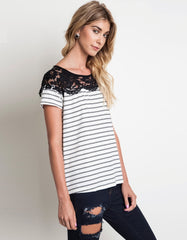 Casual White Stripes and Lace Tee