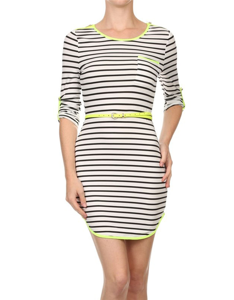 Casual Yellow Neon Stripped Dress