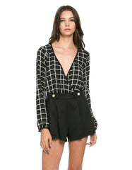 Checkered Print Romper with Front Gold Button