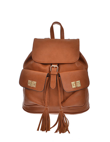 Classic Bucket Style Brown Backpack