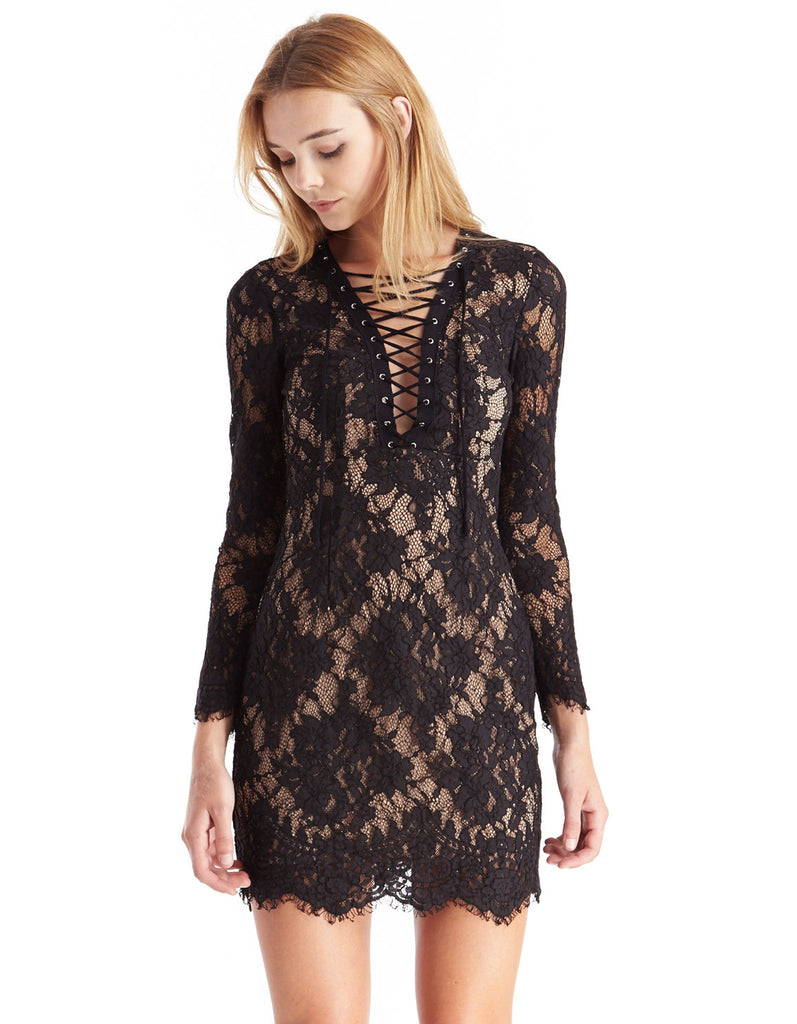 Cocktail Lace-Up Dress Black