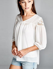 Crochet Detail Shoulder Blouse