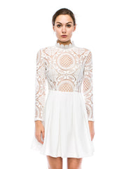 Crochet Lace Dress with Solid Skirt