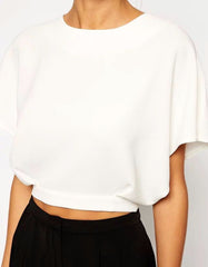 Crop Top White with Open Back