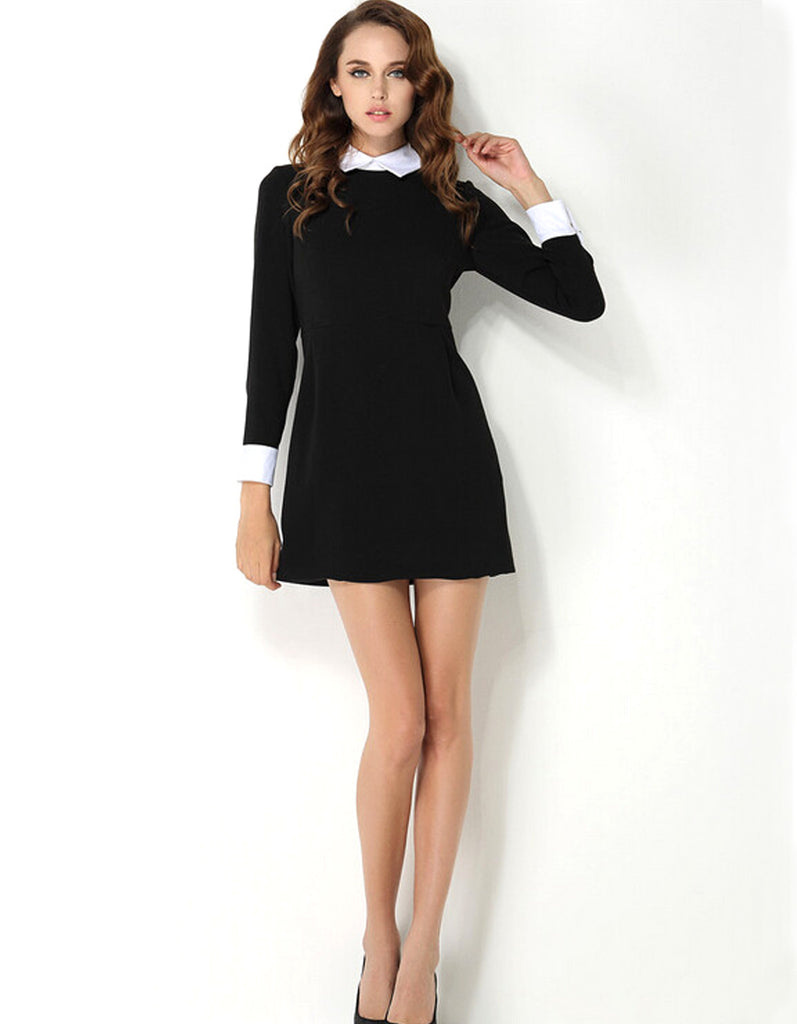 Black Dress With White Collar OINRzYtF