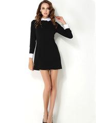 Elegant White Collar Long Sleeve Black Dress