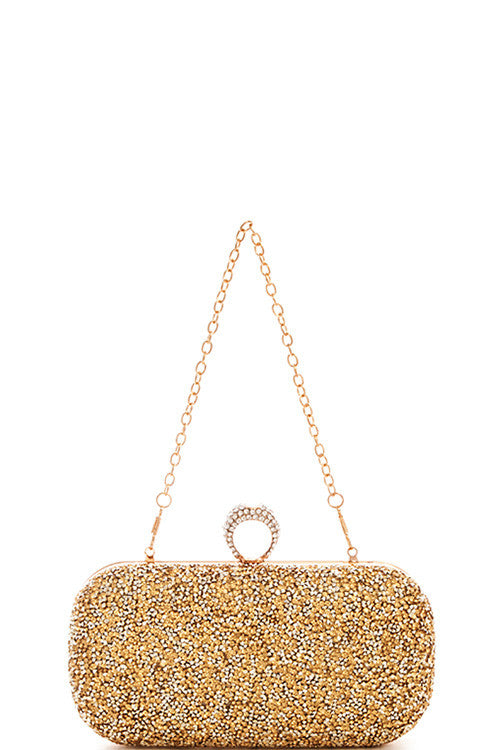 Elegant Princess Crystal Gold Clutch