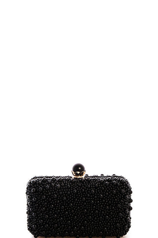 Elegant Pearl Black Clutch