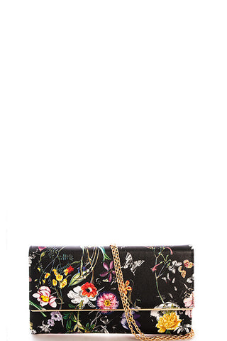 Fashion Floral Print Black Clutch