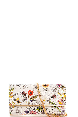 Fashion Floral Print White Clutch