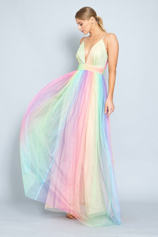 Elegant Strap Multi-Color Deep V-Neck Gown