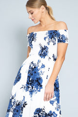 Fashion Off Shoulder Off White Navy Floral Print Elastic Maxi Dress