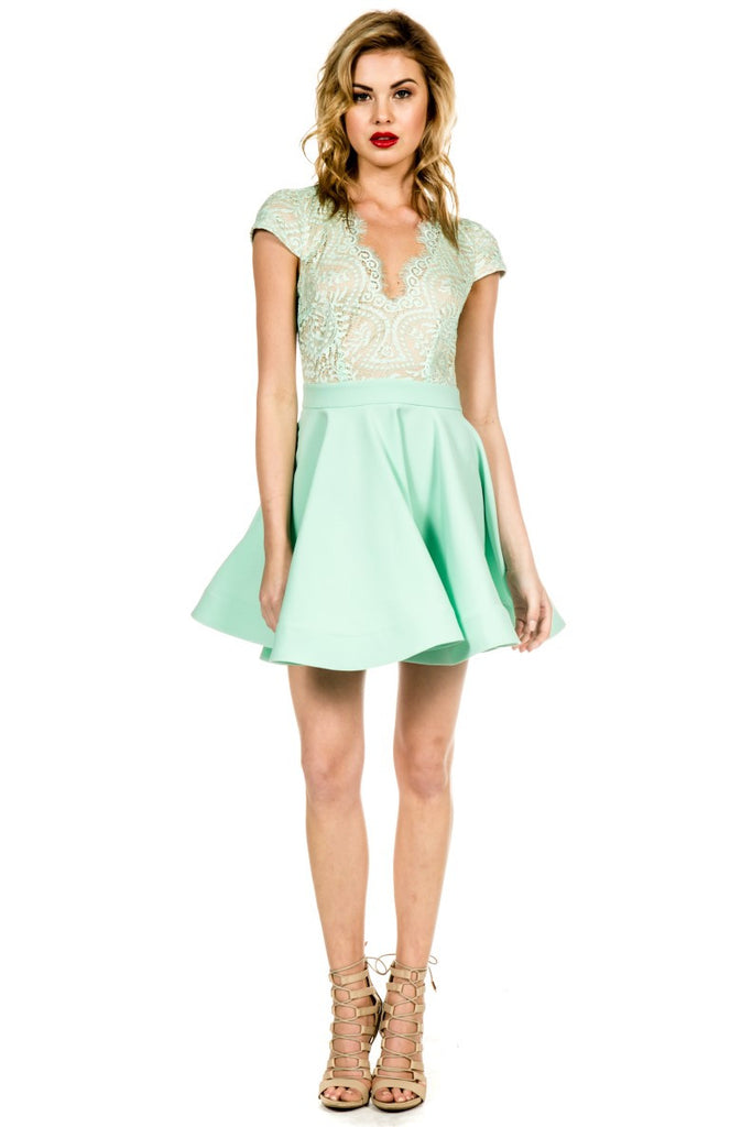 Elegant Mint Flare Lace Dress