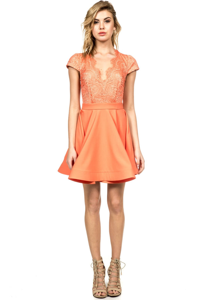 Elegant Orange Flare Lace Dress