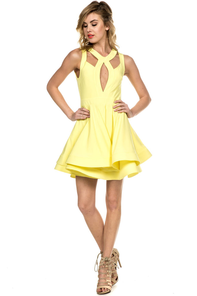 Cutout Cocktail Yellow Flare Dress