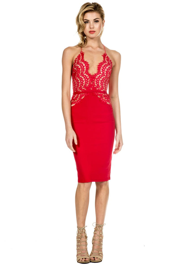 Elegant Red Scallop Lace Dress