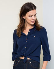Dark Blue Elegant Blouse with Gold Button