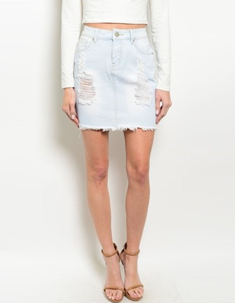 Denim Ripped Light Blue Skirt
