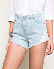 Denim Short with Crochet Trim