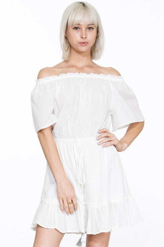 Summer Off Shoulder Silver Tassel Detailed Textured White Dress