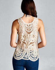 Elaborate Gold Sheer Crochet Tank