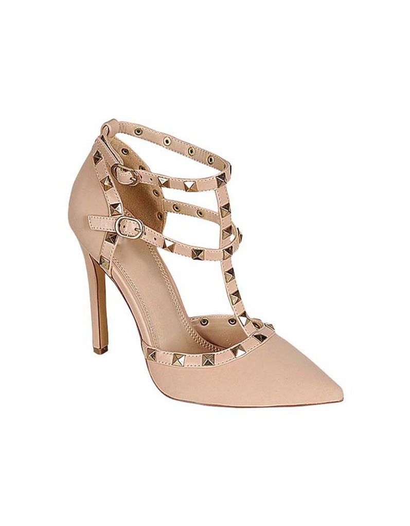 Elegant Beige Suede Heels with Rivet Decor