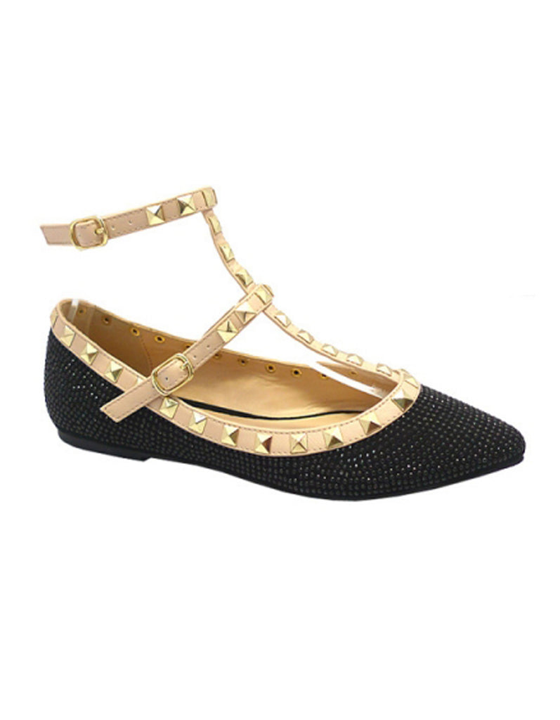 Elegant Black Crystal Flat with Rivet Decor
