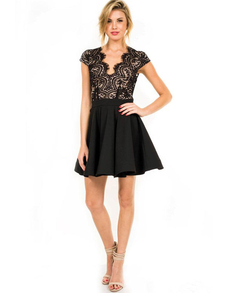 Elegant Black Flare Lace Dress