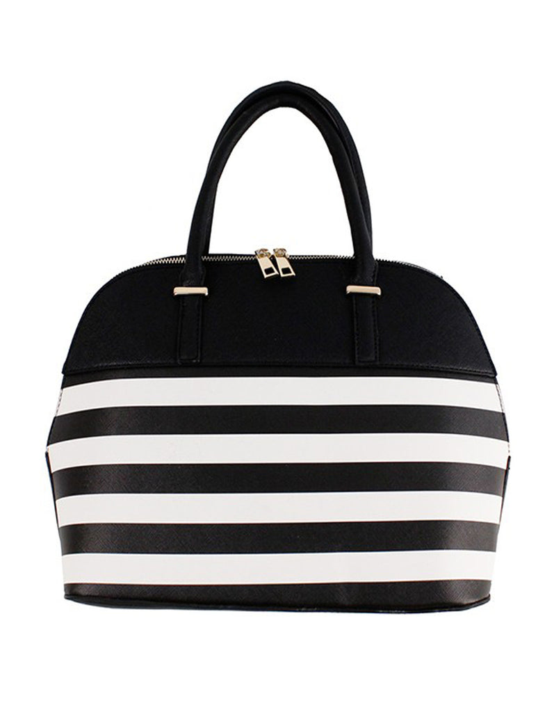 Elegant Black Striped Fashion Handbag