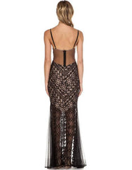 Elegant Cocktail Black Lace Maxi Dress